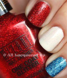 "Milani ""Red Sparkle"", Milani ""Blue Flash"" & China Glaze ""White Kwik Silvr"". NEEEEEED these glitter polishes!"