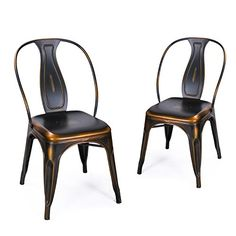 Buy Adeco Metal Stacking Dining Chairs, Vintage Barstool,Black Bronze,set of 2 - Topvintagestyle.com ✓ FREE DELIVERY possible on eligible purchases