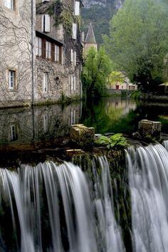 Waterfall in Florac (France).