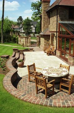 Brick step detail landscape projects pinterest for Natural terrace