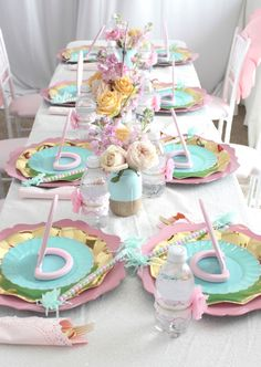 Guest tablescape from a Glam Spa Retreat Birthday Party on Karas Party Ideas 13 Sleepover Birthday Parties, Tea Party Birthday, Unicorn Birthday Parties, Birthday Party Decorations, Girl Birthday, Paris Birthday, Bachelorette Parties, 9th Birthday, 10th Birthday Party Ideas