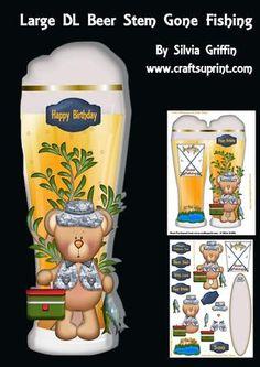 Large DL Beer Stem Gone Fishing SBS on Craftsuprint - Add To Basket!