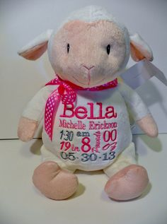 Personalized baby baptism gift embroidered soft plush lamb custom personalized baby gift personalized stuffed animal monogrammed lamb embroidered birth announcement by sewbiz embroidery too negle Image collections
