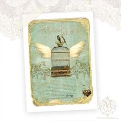Birdcage Greeting Card Flying Birdcage Birds Nest by mulberrymuse, $5.25