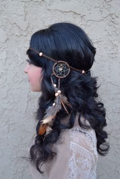 "This Unique Brown Dreamcatcher Feather Headband, With Natural Feathers And Wooden Beads, Is Fully Handmade. Ring Is 2"" In Diameter (Outer Circle) And Is Attached To A String Of Chained Cotton. Headban"