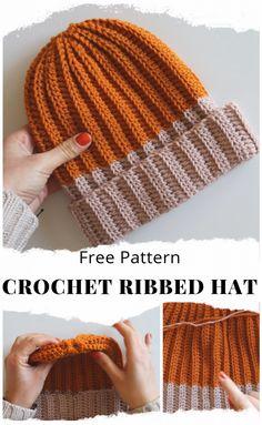 Ribbed Crochet, Crochet Cap, Double Crochet, Beanie Pattern Free, Crochet Beanie Pattern, Easy Crochet Hat Patterns, Crochet Accessories Free Pattern, Hooded Scarf Pattern, Knitting Patterns