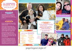 Page Layout Style 7: This super-fun layout uses bright colors, a punchy pattern and fun typography to express this family's outgoing personalities. The linear layout allows us to have fun with pull quotes and fabulously saturated colors without the layout feeling too busy.