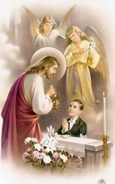 This Spanish First Communion (Primera Comunion) holy card is laminated and for a boy. The Communion Prayer on the back is written in Spanish. Beautiful artwork featuring Jesus and angels. Communion Prayer, First Communion Cards, Boys First Communion, Communion Gifts, Vintage Holy Cards, Communion Invitations, Religious Images, Jesus Pictures, Prayer Cards