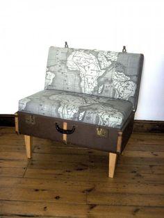Repurposed luggage chair