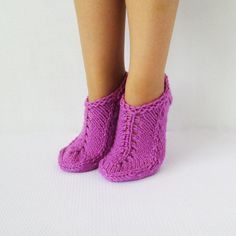 Purple Slippers  Handmade Knitted  Wool Slippers by mymomsshop1