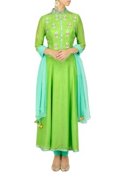 Lime and sea green embroidered anarkali set BY SVA. Shop now at: http://www.perniaspopupshop.com/ #perniaspopupshop #Indian #anarkali #limeandgreen #embroidered #aesthetic #beautiful #fashion #suave #stylish #designer #label #love #SVA #artistic #exquisite #glamorous #happyshopping