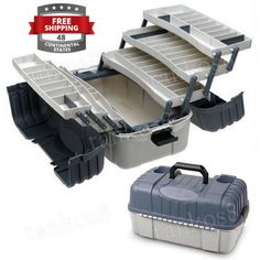Lure-Tackle-Box-Fishing-7-Tray-Storage-Roof-Organizer-Beverage-Holders-Plano-Kit