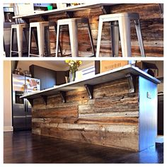 Handmade refinished bar with reclaimed wood. Reclaimed wood kitchen island.