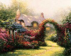 the works of thomas kinkade   Thomas Kinkade Paintings - Thomas Kinkade Glory of Morning Painting