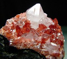 Rhodochrosite and Quartz with Fluorite covering on Manganese matrix / Uchucchacua Mine, Peru