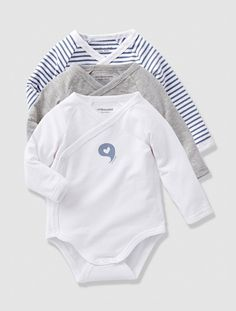Lot de 3 bodies bébé évolutifs Gris bleuté+Rose bonbon - vertbaudet enfant