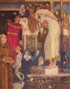 'As she was at the fire to take her execution, young Tristram kneeled afore King Meliodas, and besought him to give him a boon.' by Sir William Russell Flint  Tristan and Isolt    Sir William Russell Flint (1880-1969). From: Malory, Thomas, Sir. Le Morte Darthur: The History of King Arthur and of his Noble Knights of the Round Table. Boston: Ralph T. Hale & Company, n.d.