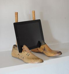 Antique wooden shoe forms repurposed into ipad or laptop computer stand for store or art craft booth display presentation; design by baileys home; Upcycle, Recycle, Salvage, diy, thrift, flea, repurpose, refashion! For vintage ideas and goods shop at Estate ReSale & ReDesign, Bonita Springs, FL