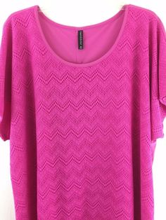 Womens Plus Size 2X Knit Top Pink Geometric Faux Button Back Sleeveless Blouse #Massini #KnitTop #Casual