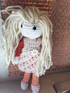 "14"" Crochet Rag Doll Wool Blond hair Crochet dress ReadyTo Ship by AngelBlossomCrochet on Etsy https://www.etsy.com/listing/224972704/14-crochet-rag-doll-wool-blond-hair"