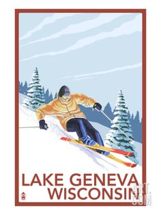Lake Geneva, Wisconsin - Downhill Skier Art Print by Lantern Press at Art.com