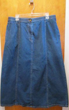 DENIM & CO. Womens Plus Size 1X Modest Long Denim Jean Skirt Dark Wash QVC #DenimCo #StraightPencil