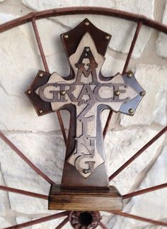 Standing Creme crackle wood Cross on Etsy, $35.00