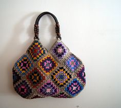 Taupe Crochet granny square bag by knittingcate on Etsy, $98.00
