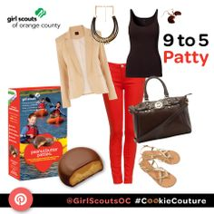 """9 to 5 Patty"" is the perfect work outfit inspired by the Peanut Butter Patty (Tagalong) Girl Scout Cookie! #CookieCouture"