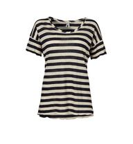 Part Two Top Imperia is a short sleeved top with navy and cream stripes.    Imperia has an unfinished hem detail with a nice round neck. Looks fab with skinny jeans and pumps.    Don't forget Free UK Postage on all items.