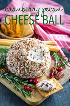 This Cranberry Pecan Cheese Ball is the perfect easy to make appetizer or snack for entertaining! It can be served with your favourite crackers or veggies! Easy To Make Appetizers, Holiday Appetizers, Appetizer Recipes, Delicious Appetizers, Cheese Appetizers, Yummy Snacks, Low Fat Cream Cheese, Thing 1, Best Cheese