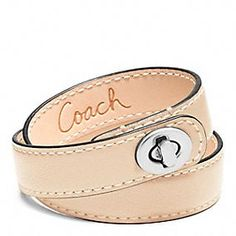 Coach Leather Double Wrap Turnlock Bracelet