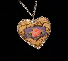 Broken china jewelry heart shaped necklace pendant Victorian pink rose with blue design