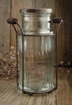 "8.00 SALE PRICE! This cylinder glass potpourri jar would also make a creative vase. It is 7-1/2"" tall, 4"" wide, with a 2"" wide neck. The metal..."