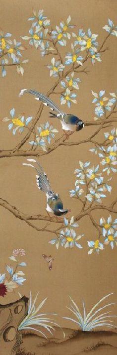 hand painted wallpaper, silk wallpaper, china wallpaper, grace silk wallpaper…