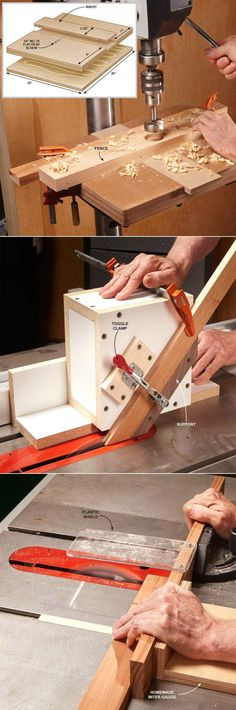 Simple Woodworking Jigs You Need :: Drill Press Table, Table Saw Guide Box, No-Wiggle Table Saw Crosscuts http://familyhandyman.com/woodworking/tips/dirt-simple-woodworking-jigs-you-need#5: