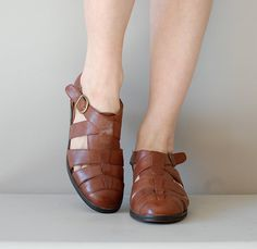woven leather sandals / tstrap shoes / brown leather by DearGolden