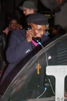 Archbishop Emeritus Desmond Tutu enjoying the interactive exhibits at Maropeng on July 31