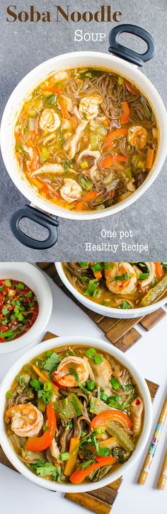 Asian soba noodle one pot soup recipe loaded with fresh vegetables