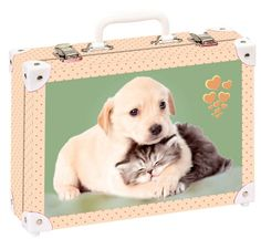 Školní kufřík velký - 35x25x11cm č. 21742 HK Velký  Pejsek a kočička společně Suitcase, Briefcase