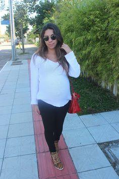 Nanda Pezzi - Look do dia grávida: P&B + oncinha + cor - 39 semanas