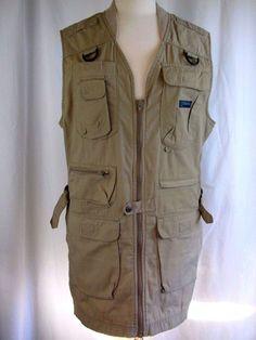 COLUMBIA Mens L Tan Cotton Blend Fishing Long Vest Outdoors Hunting POCKETS #Columbia