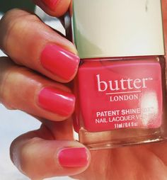 A perfect coral-pink for summer. Flusher Blusher by ❤️ via Butter Nail Polish, Dnd Gel Polish, Gel Polish Colors, Pink Nail Polish, Nail Polishes, Coral Pink Nails, Dark Pink Nails, Peach Nails, Butter London Patent Shine