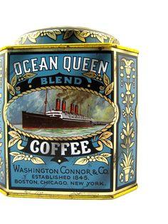 Ocean Queen Coffee Ship Tin