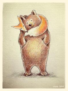 Illustration of Bear and Fox keeping warm ©Liesbeth Keder