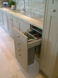I would love to be able to hide the recycling. Hand Painted Farrow and Ball Kitchen