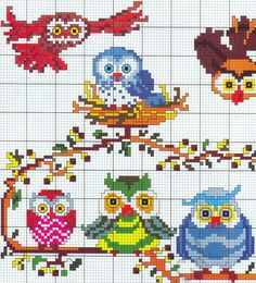 cross stitch owls/birds