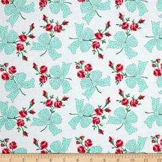 Michael Miller Retro Florals Faye Aqua from @fabricdotcom  Designed for Michael Miller, this cotton print fabric is perfect for quilting, apparel, and home decor accents. Colors include pink, grey, aqua, white, shades of green, and shades of red.
