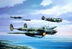 Пе-2 и Лa-5 над Чёрным морем, 1944 - худ.Марий Чернев