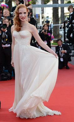 "Jessica Chastain - Giorgio Armani  Jessica Chastain arrives for the screening of ""Madagascar 3 Europe's Most Wanted"" wearing a Giorgio Armani gown at the 65th Cannes film festival on May 18, 2012, in Cannes."